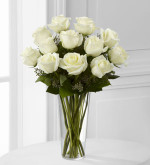 18 White roses are a lovely, loving Valentine gift.   Fresh made in our Toronto and North York flower shop by real florists.