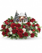 Christmas is here! Children line up to share their wishes with Santa in this warmly lit holiday scene. Set atop a magnificent bouquet of festive red roses, snowy white carnations and fresh Christmas greens, this hand-sculpted, hand-painted Thomas Kinkade collectible will delight for years to come.      This beautiful arrangement includes red roses, red spray roses, white miniature carnations, variegated holly, flat cedar and noble fir.