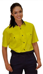 SW63 Ladies' Hi-Vis Cool-Breeze Short Sleeve Cotton Twill Safety Shirts