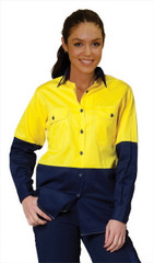 SW64 Ladies' Hi-Vis Cool-Breeze Long Sleeve Cotton Twill Safety Shirts