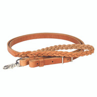 """Harness Leather 3-Plait Rope Reins 3/4"""" x 7'"""