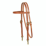 Brass Snap Cheek Headstall - Single Ply Double Cheek