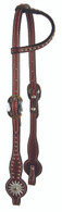 Latigo Headstall Burgundy with Painted Edge