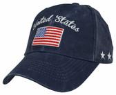 United States American Flag Navy Blue Ball Cap