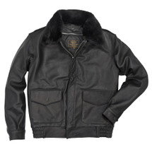 Cockpit USA Flight Rider Leather Jacket Black USA Made with mouton collar on Z21S021 Be warm and cool  at empire tactical gear