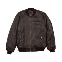 Alpha Industries Leather MA-1 Flight Jacket Brown