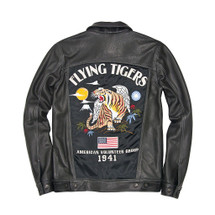 Cockpit USA Flying Tigers Trucker Souvenir Jacket Black USA Made