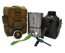 Campfire Survival Cooking Kit Stainless Steel With Molle Carrier