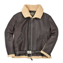 Cockpit USA R.A.F. Fighter Weight Sheepskin Bomber Jacket Brown USA Made