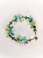 Aqua Teal Mix Cluster Bracelet