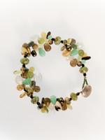 Green Brown Mix Cluster Bracelet