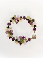 Purple Green Mix Cluster Bracelet