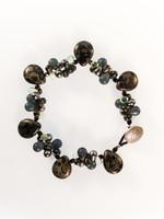 Black Czech Glass Cluster Bracelet