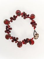 Red Czech Glass Cluster Bracelet
