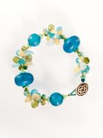 Dark Aqua Mix Resin Cluster Bracelet
