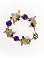 Purple & Green Mix Resin Cluster Bracelet
