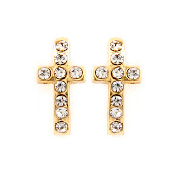 mini bejeweled golden cross post earrings