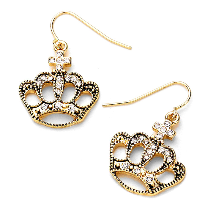 golden bejeweled crown drop earrings
