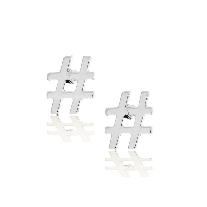 silver hashtag post earrings