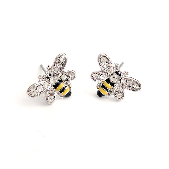 tiny silver bee post earrings with enamel and crystal