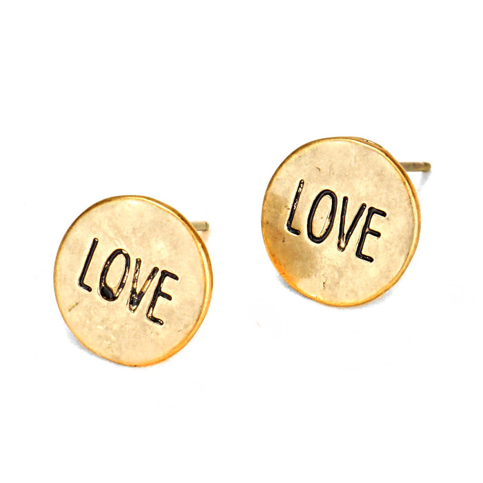 golden 'love' button post earrings
