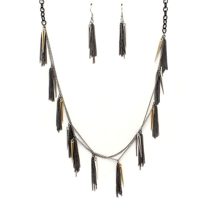 long multi-chain spike fringe necklace
