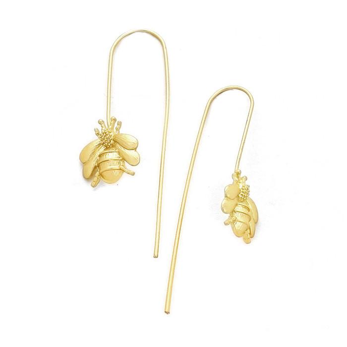 golden bee thread-thru drop earrings
