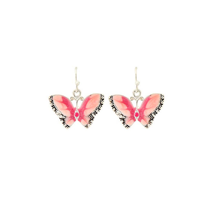 pink enameled butterfly earrings