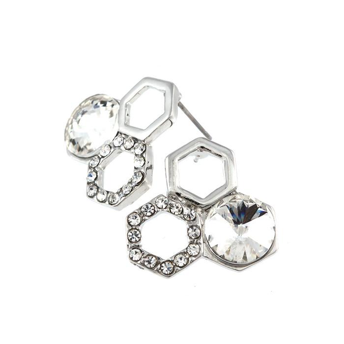 silver crystal honeycomb post earrings
