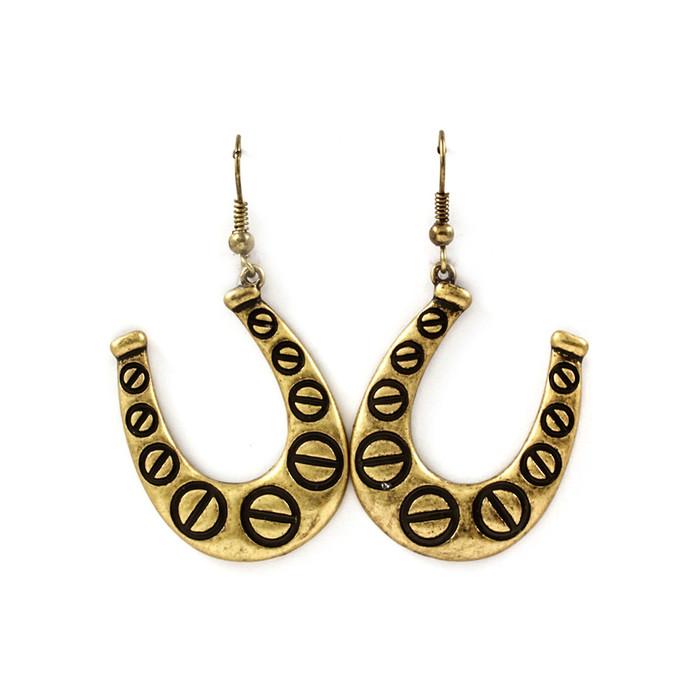 antiqued gold horseshoe drop earrings