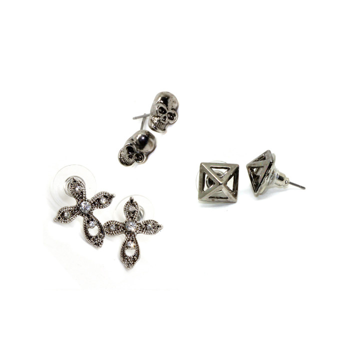 antiqued silver skull/pyramid/cross post earring set