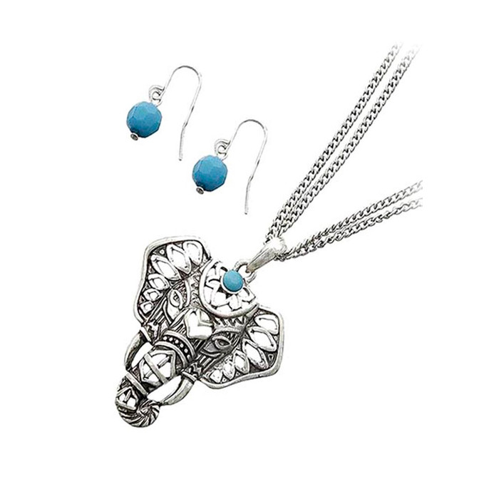 antiqued silver elephant necklace and earring set