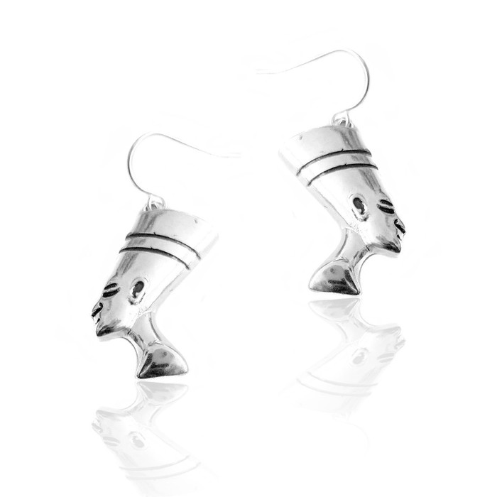 silver nefertiti egyptian drop earrings