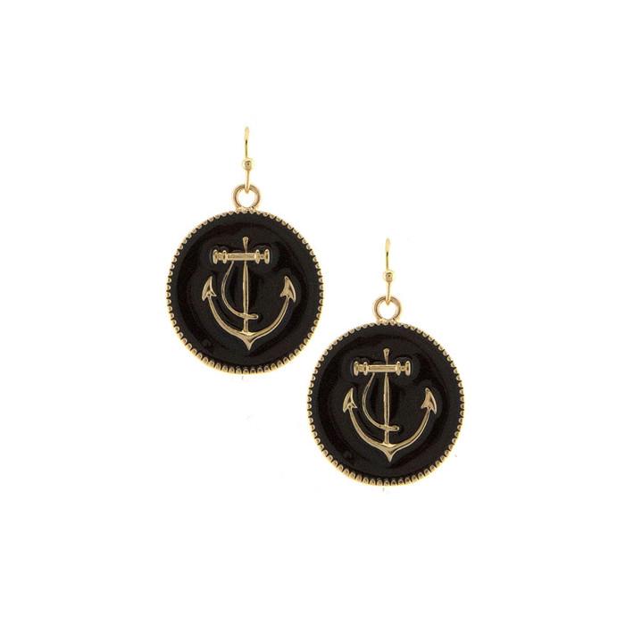 black enamel anchor drop earrings