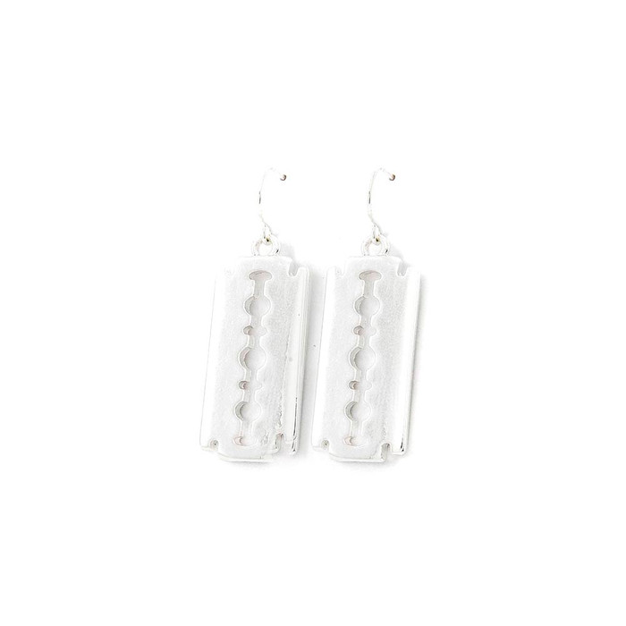 silver razor blade drop earrings