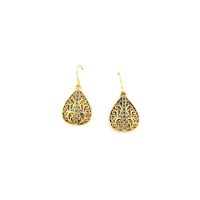 golden filigree teardrop earrings