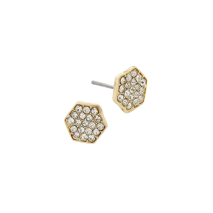 mini golden crystal honeycomb post earrings