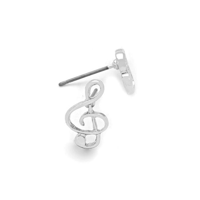 mini silver treble clef post earrings