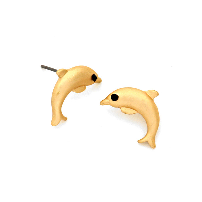 matte gold dolphin post earrings