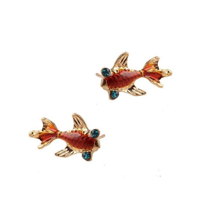 golden enameled koi/goldfish post earrings with crystal detail