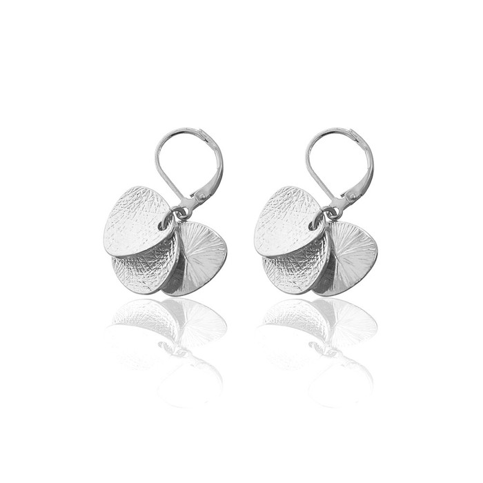 silver abstract textured coin trio leverback drop earrings