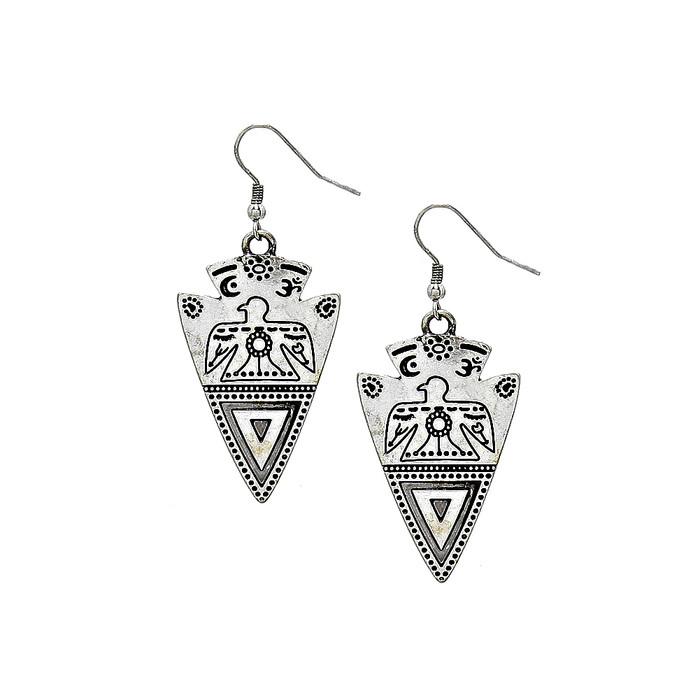 antiqued silver engraved arrowhead drop earrings