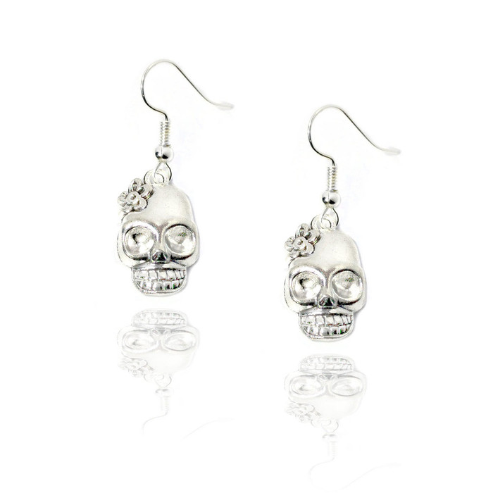 silver sugar skull drop earrings