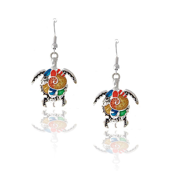 silver and multi-color enameled turtle drop earrings