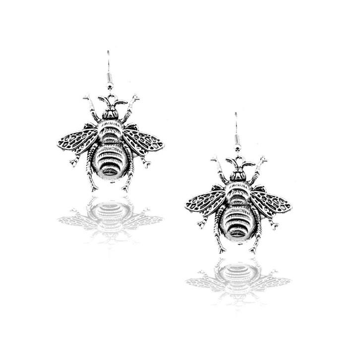 Antiqued Silver Bee Drop Earrings