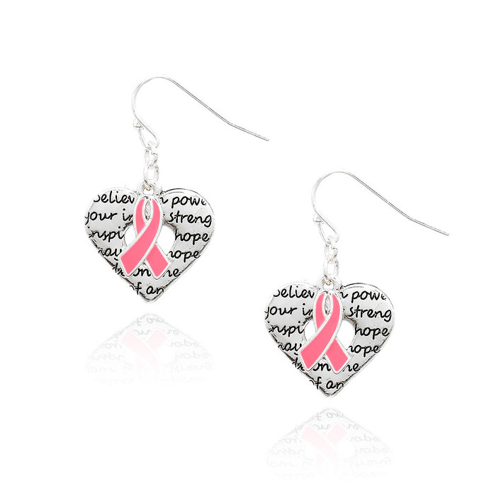 Silver Heart Inspirational Words Drop Earrings with Pink Enameled Ribbon