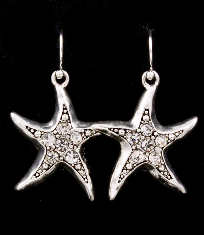 bejeweled silver starfish earrings