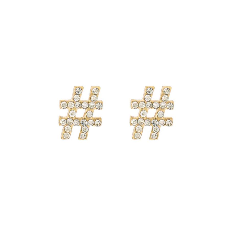 bejeweled golden hashtag post earrings
