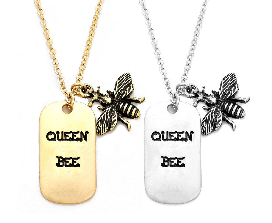 silver 'queen bee' dog tag  and bee necklace