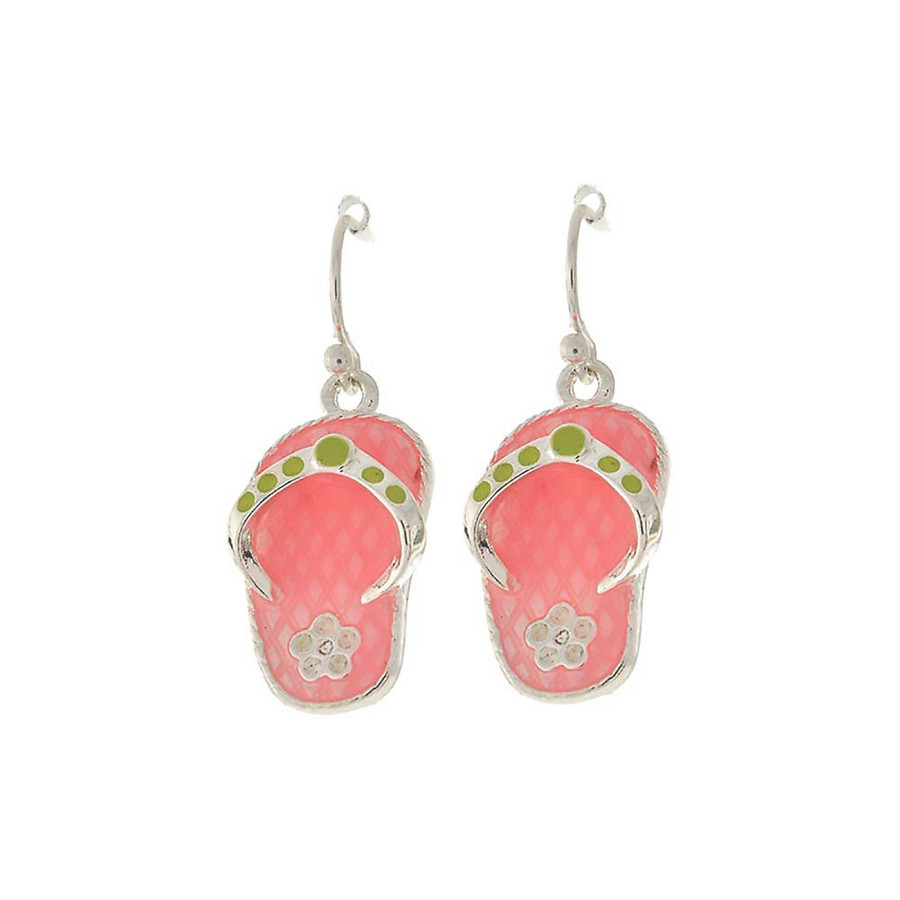 pink enameled flip-flop drop earrings